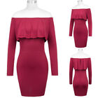 Sexy Women's Long Sleeve Off Shoulder Hips-Wrapped Bodycon Pencil Dress Zip Clos