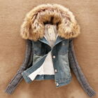 Womens Girl Winter Thick Jeans Coat Cotton Short Denim Jacket Fur Collar Outwear