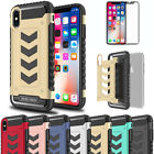 Impact Rugged Hybrid Armor Protective Shield Case Cover +Glass Film For iPhone X