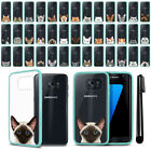 For Samsung Galaxy S7 Edge G935 Cat Design Clear Teal Bumper Case Cover + Pen