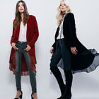 Women's Autumn Spring Velvet Cardigan Wrap Top High Low Jacket Outwear Coat UK