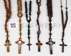 Fashion Wooden Wood Bamboo Rosary Beads Cross Religious Necklace Mens Womens image