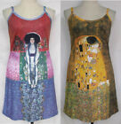 Gustav Klimt ART Print Spaghetti Stretch Tank Dress Size XL