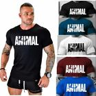 Men ANIMAL Gym Sport Fitness Muscle Bodybuilding Training Cotton T-shirt Tee image