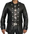 Mens Fashion Rock black Leather Jacket Stand Collar long Sleeves with Button Cuf