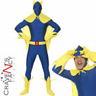 Bananaman Costume Superhero Banana Man 2nd Skin 80s Adult Fancy Dress Outfit New