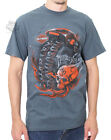 Harley-Davidson Mens Obsession Flaming Skull Slate Blue Short Sleeve T-Shirt $9.99 USD