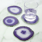 SET OF 4 AGATE GOLD/SILVER EDGE COASTERS - NATURAL SLICED STONE - DRINK CUP MAT