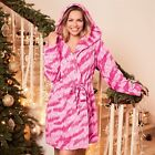 Tiger Snuggle Robe Pink & White Fleece Dressing Gown ~ Size 14/16 ~ New
