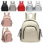 New Ladies Synthetic Leather Multiple Zipped Pockets Small Backpack Handbag