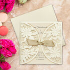 50 Embossed Personalised Laser Cut Wedding Invitations Free P*P FREE ENVELOPES