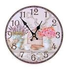 "Rustic Large 14"" Wooden Clock Analog Wall Clock for Bar Home Shop Decoration"