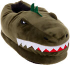 Silver Lilly Dinosaur Plush T-Rex House Slippers w- Memory Foam Support