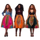 Womens African Retro Dashiki Hippie High Waist Skater Flared Pleated Skirt Dress