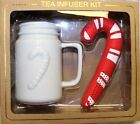 Mason Jar Style Mug & Candy Cane Tea Infuser Kit *great Giftset For A Tea Lover*
