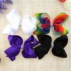 8 inch Girl Rainbow Bows Hairpin large rib Grosgrain Ribbon Bow Hair Clip Baby