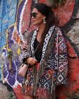 ZARA FRINGE EMBROIDERED JACQUARD COAT KIMONO MANTEL JACKE FRANSEN STICKEREI