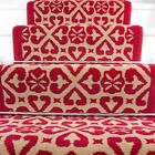 Red Traditional Moroccan Stair Carpet Long Narrow Runners Custom Width + Length