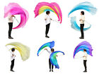 "1pc 1.8m*0.9m(70""x35"") light 5mm half circle belly dance silk poi, steel chain"