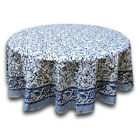Rajasthan Floral Vine Cotton Block Print Tablecloth Rectangle Round Square
