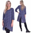 Cute Tunic Top Navy Blue Floral Layered Comfy 3/4 Sleeve Spring Wear