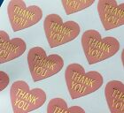 Heart Paper Labels THANK YOU PINK & GOLD Gift Food Craft Stickers Seals Scraping