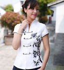Traditional Chinese Women's cotton white top Dress/ T-shirt blouse