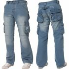 MENS ENZO LATEST CARGO COMBAT JEANS PANTS SMART FASHION LIGHT WASH SIZES 28-48
