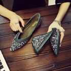Womens Blingbling Flat Fashion Loafers Sequins Shoes Pumps Leather Moccasins