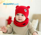 2pcs Boy Girl Newborn Warm Winter Baby Knit Bear Hat Scarf Cute Beanie Bonnet