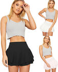 Womens Ruffle Frill Layered Crepe Rara Mini Skort New Ladies Hot Pants Shorts