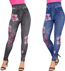 Womens Floral Print Denim Look High Waisted Stretch Leggings Ladies Jeggings