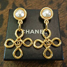 CHANEL Gold Plated CC Logos Clover Imitation Pearl Vintage Swing Earrings #2843a
