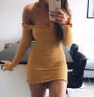 Sexy Womens Off Shoulder Jumper Dress Ladies Party Bodycon Mini Dress Size 6-14