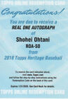 2018 TOPPS HERITAGE SHOHEI OHTANI REAL ONE AUTOGRAPH REDEMPTION CARD HOT AUTO