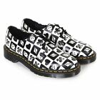 Dr Martens Women's 1461 Egret Playing Card Print Leather Shoe Black