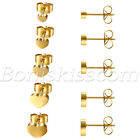 10pcs Mens Women Charm Stainless Steel Heart Screw Back Ear Studs Earrings 4-8mm