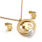 New Stainless steel Freshwater Shell pearls Bear Necklace Earrings Set
