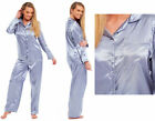 Ladies Satin Pyjamas Silver Blue Plain Silk Traditional Full Length Long Sleeved