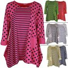 Ladies Tunic Top Spot Stripe Panel Womens Italian Lagenlook Scooped Neck Casual