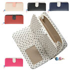 Ladies Large Faux Leather Polka Dot Purse with Zipped Coin Section - RFID Safe