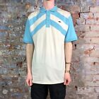 Atticus Dignan Casual Tee Short Sleeve Polo T-Shirt Light Blue/Cream in size M