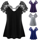 Fashion Women Sexy Summer Short Sleeve Blouse Casual Tops T-Shirt Lace Plus Size