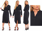 Ladies Womens Marks Spencer Long Belt Shirt Dress Buttoned Black Grandad Collar