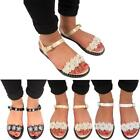 New Ladies Womens Flat Jelly Ankle Strap Buckle Diamante Flower Slippers Sandals