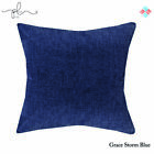 Luxury Plain Chenille Flocking Cushion Covers Zip Up Fastening Scatter Pillow UK