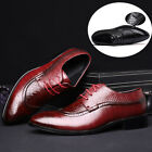 Mens Leather Shoes Dress Formal Lace up Brogue wing tip Wedding Suit Oxfords New