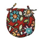 Outdoor Red Wilder Contemporary Floral Round Tufted Bistro Cushion - Choose Size
