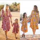 Mother and Daughter Casual Boho Floral Maxi Dress Mommy&Me Matching Outfits HOT