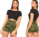 Womens High Waisted Camouflage Print Lace Up Tied Back Hot Pants Ladies Shorts